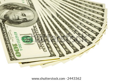 the some US dollars banknotes with clipping path