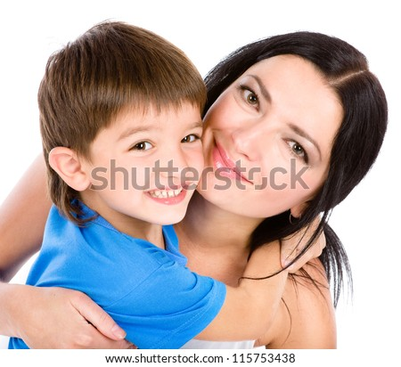 the son embraces mother. isolated on white background - stock photo