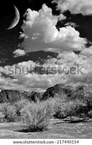The Sonora desert and moon in central Arizona USA - stock photo