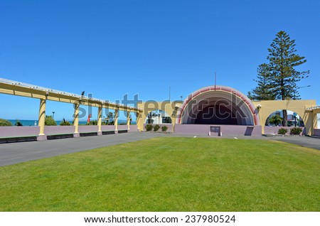 The Sound Shell in Napier, the Art deco capital of New Zealand - stock photo