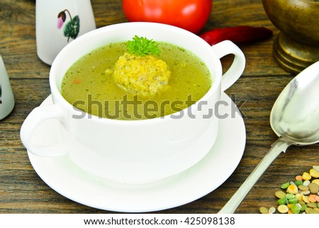 The Soup of Lentils, Peas, Chickpeas, Rice, Barley, Dried Vegetables and Herbs Studio Photo
