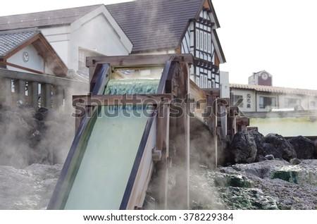 The source of hot spring , Kusatsu hot spring, Japan - stock photo