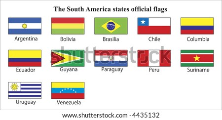 The South America states official flags