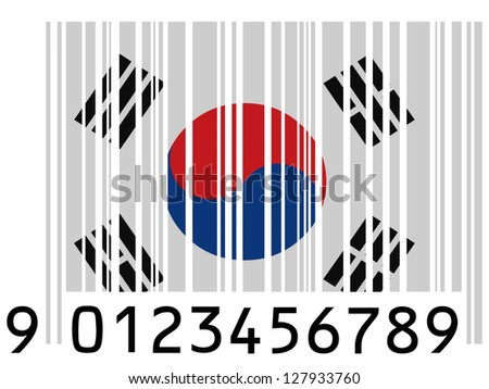 The South Korea flag  painted on barcode surface - stock photo