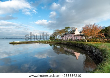 The South West Coast Path at Empacombe Quay in Mount Edgcumbe in Cornwall - stock photo