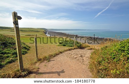 The South-West Coast path, Westward Ho!, North Devon ~ At Greencliff, 1 mile west of the resort of Westward Ho!, looking west towards Clovelly - stock photo