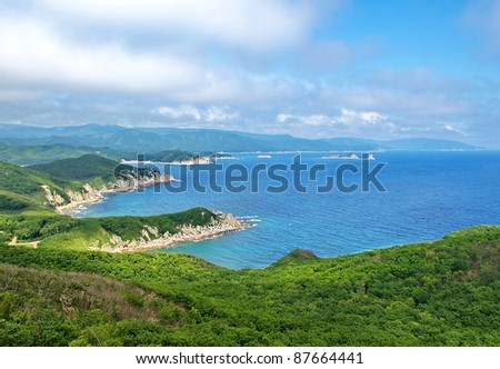 The southern coast of the Japan sea, Primorsky krai. The view from the top - stock photo
