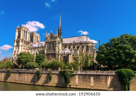 The southern facade of Cathedral of Notre Dame de Paris  - stock photo