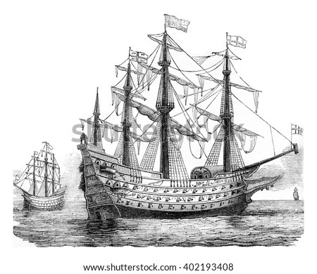 The Sovereign of the Seas, English vessel, 1650, vintage engraved illustration. Colorful History of England, 1837. - stock photo