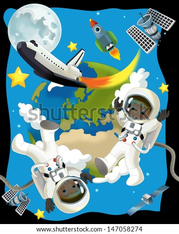 The space journey - happy and funny mood - illustration for the children, XXL large file - stock photo