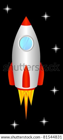 The space rocket flies upwards, to space.EPS version is available as ID 74912323. - stock photo