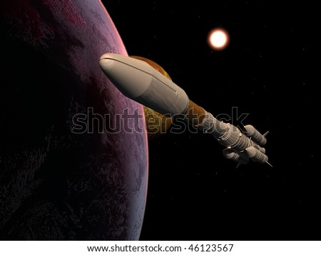 The space ship on a background of a planet - stock photo