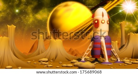 The spacecraft landing on an alien planet - stock photo