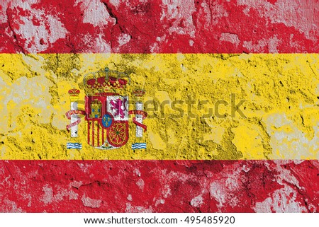 The Spain flag painted on grunge wall