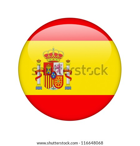 The Spanish flag in the form of a glossy icon. - stock photo