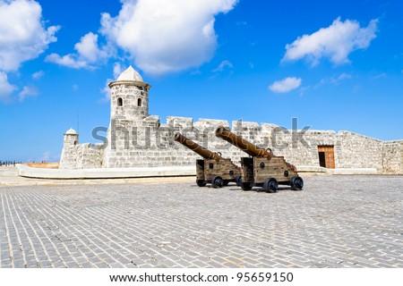 The spanish fortress of La Punta at the entrance of Havana Bay - stock photo