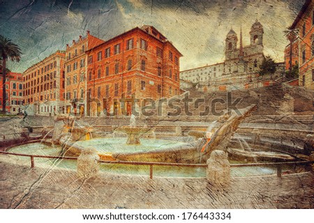The Spanish Steps in Rome . Italy. Picture in artistic retro style. - stock photo