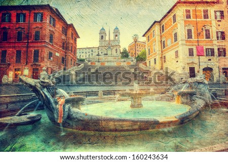 The Spanish Steps in Rome.  Picture in artistic retro style. - stock photo