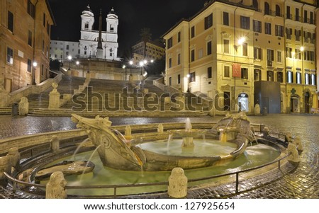 The Spanish Steps, seen from Piazza di Spagna in Rome, Italy - stock photo