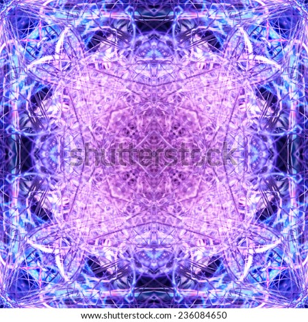 The sparkling violet and blue background in the form of a kaleidoscope from intertwining shining fibers. - stock photo