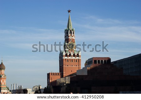 The Spasskaya Tower is the main tower with a through-passage on the eastern wall of the Moscow Kremlin, which overlooks the Red Square. The Spasskaya Tower was built in 1491 by Pietro Antonio Solari. - stock photo