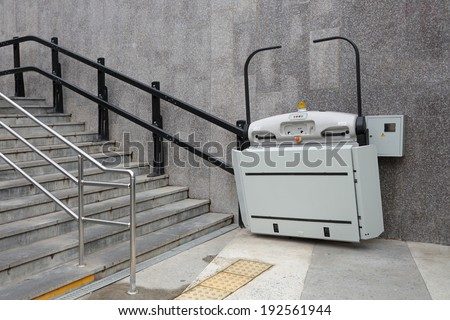 The special Elevator for the disabled at the underpass in the city of Sochi, Russia - stock photo