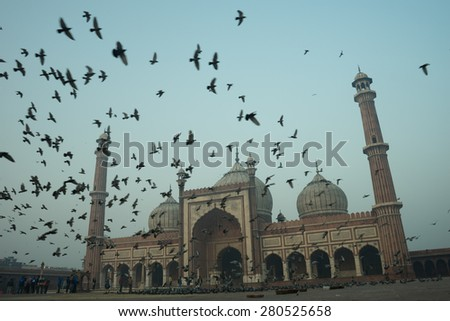 The spectacular architecture of the Great Friday Mosque or also known as Jama Mosque (Jama Masjid) in Delhi, one of the most important mosque in India. - stock photo