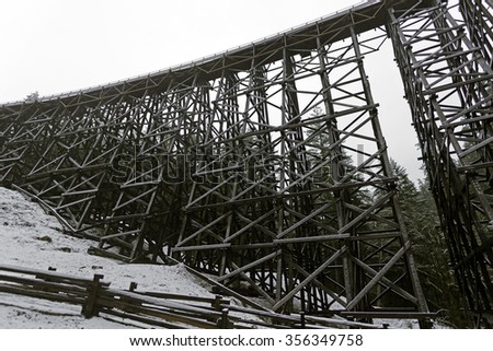 The spectacular Koksilah River Trestle in Vancouver Island  also known as the Koksilah River Trestle, wooden railway trestle located on Vancouver Island north of Shawnigan Lake in the  BC Canada. - stock photo