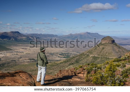 The spectacular view from the top in the Camdeboo National park, South Africa - stock photo