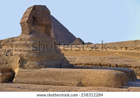 The Sphinx and Cheops piramid. Gizeh. Cairo. Egypt - stock photo