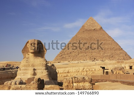 The Sphinx and Pyramid of Khafre, Cairo, Egypt - stock photo