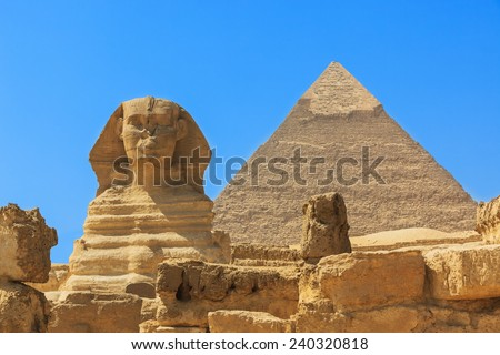 The Sphinx and Pyramid of Khafre. Egypt - stock photo
