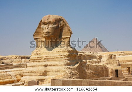 The Sphinx and Pyramids in Egypt - stock photo
