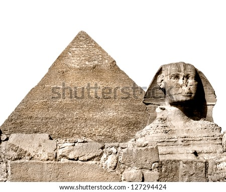 The Sphinx and the great pyramid, Giza, Egypt. Isolated on white. - stock photo