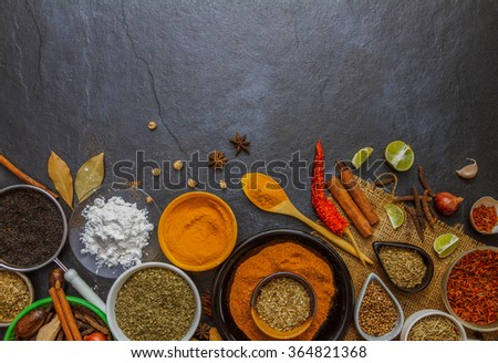 The spice and herb on stone background for design or decorate project. - stock photo