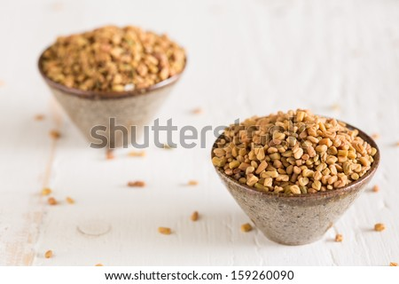 The spice fenugreek which is used a lot in Indian cooking - stock photo