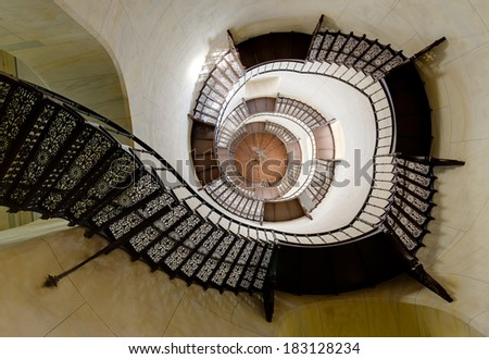The spiral staircase in the hunting seat Granitz, Ruegen, Germany