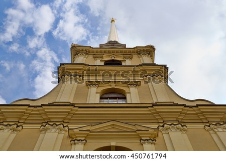 The spire of the Peter and Paul Fortress. St. Petersburg. Russia. - stock photo