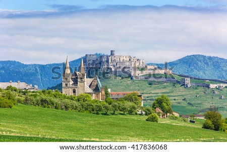 The Spis Chapter and the Spis Castle, Slovakia - stock photo
