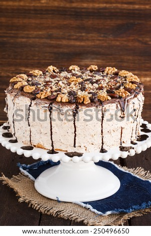 The sponge cake with coffee cream,homemade - stock photo