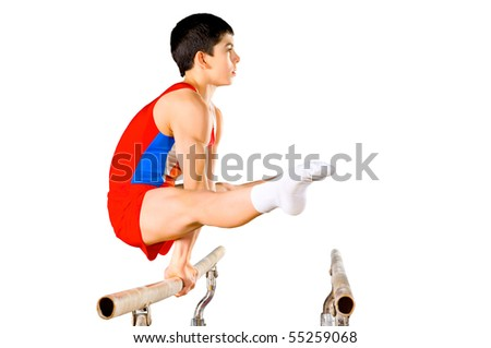 The sportsman the guy, carries out difficult exercise, sports gymnastics, on white background, isolated - stock photo