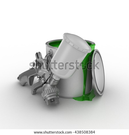 The spray gun and the open can of green paint. 3d render isolated on white background