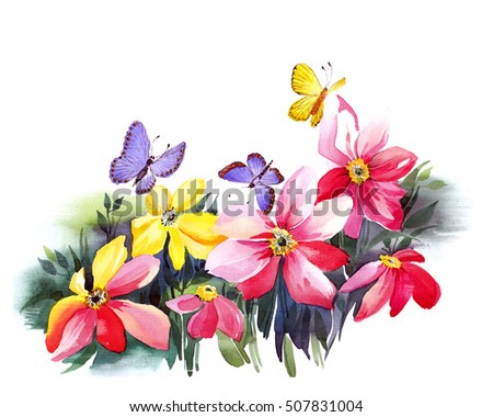 the spring celebration of woman day with flowers watercolor made by hand isolated on the white background