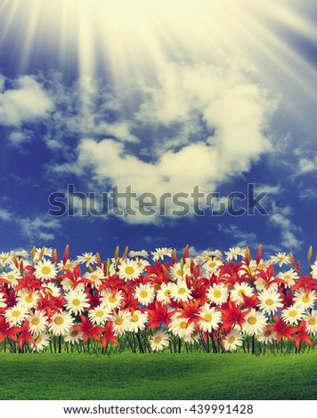The spring flowers over blue sky - stock photo