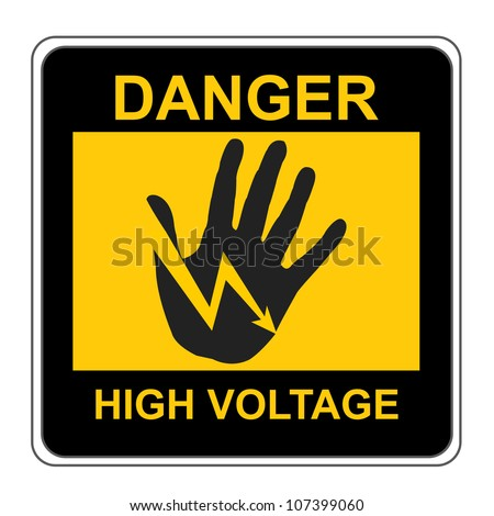 The Square Black and Yellow Danger High Voltage Sign Isolated on White Background - stock photo