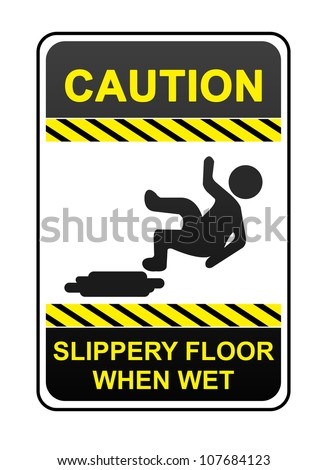 Caution Slippery Surface Sign Stock Photos, Royalty-Free Images ...