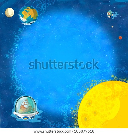 The square framing - aliens subject - ufo - for kids - kindergarten - menu - screen - space for text - happy and funny mood part 2 - stock photo