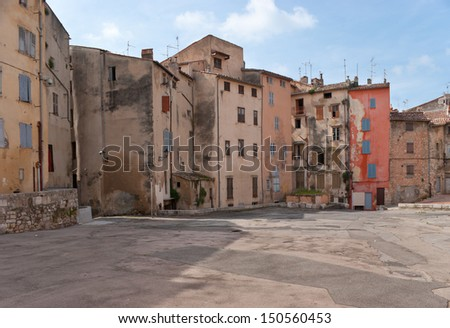 The square of Grasse with old houses, France.