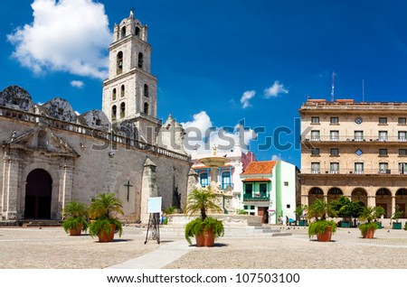 The square of San Francisco in Old Havana, a famous tourist destination on the city - stock photo