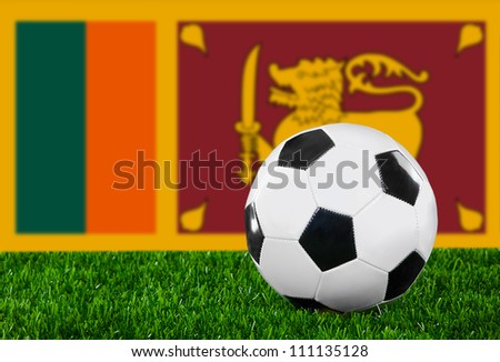 The Sri Lanka flag and soccer ball on the green grass
